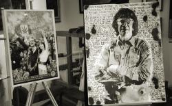 Collage Emeries en portret Howard Marks door kunstenaar Goldie