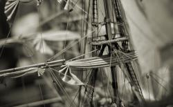 Sailing boat miniature with hemp textile and ropes