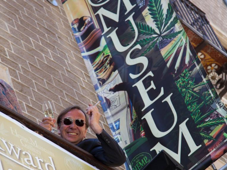 Ben Dronkers celebrating the opening of the Hash Marihuana Cáñamo and Hemp Museum