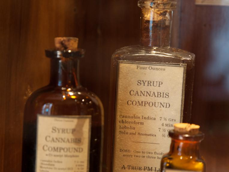 Nineteenth century medicinal cannabis bottles on display in the Hash Marihuana Cáñamo and Hemp Museum